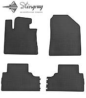 Резиновые коврики Stingray Стингрей Kia Sorento  2015- Комплект из 4-х ковриков Черный в салон. Доставка по всей Украине. Оплата при получении