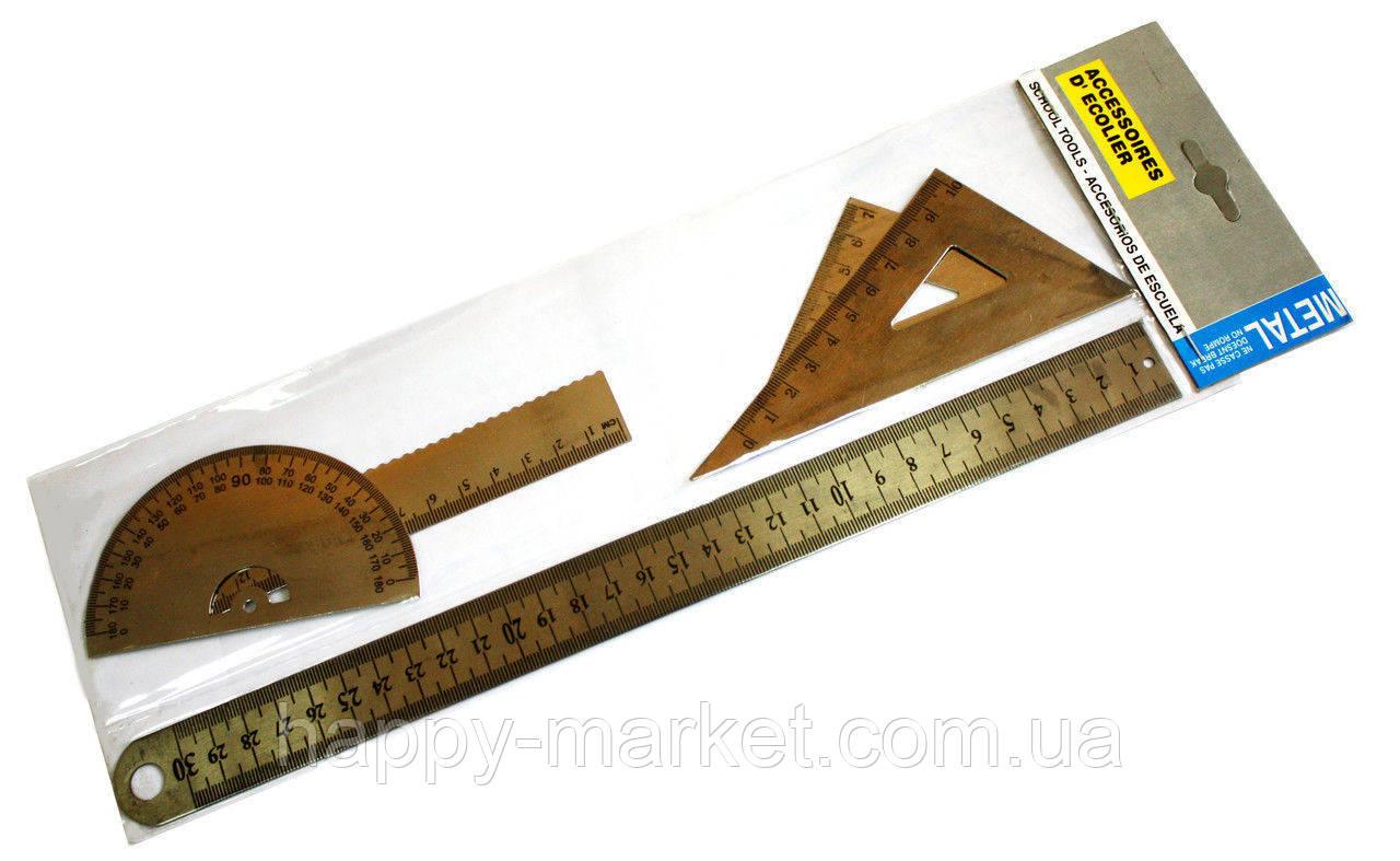 """Набір лінійок """"Profi"""" 6682 метал (2 косинця+2 лінійки 15, 30 див.+транспортир)"""
