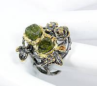 """Серебряный перстень """"Цветочный """" с зеленым сапфиром , размер 18,6, фото 1"""