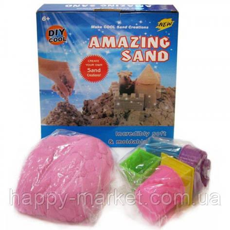 Песок кинетический для моделирования 14-500 (500 гр в коробке + 6 формочек/микс цветов), фото 2
