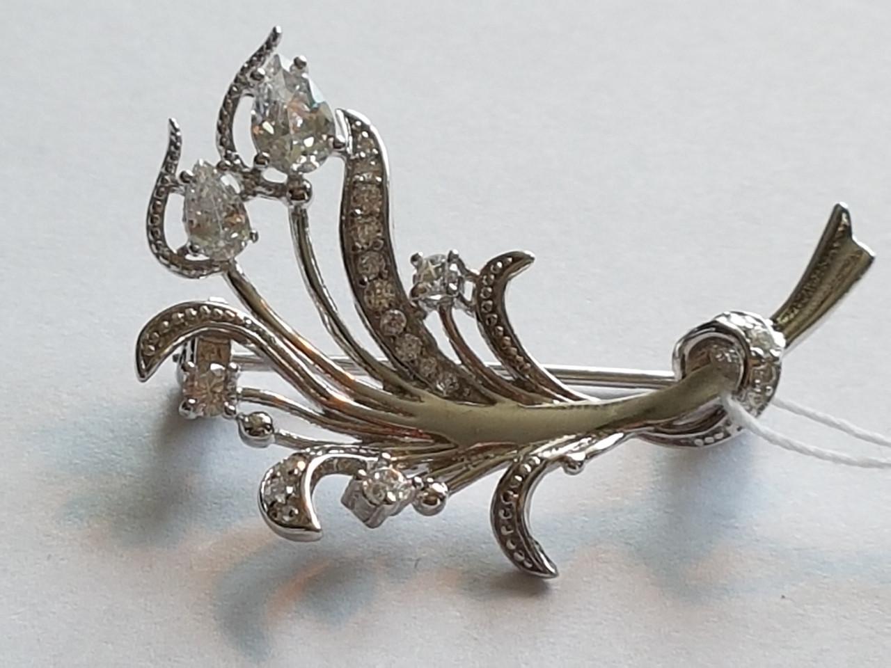 Срібна брошка з фіанітами. Артикул Бр2Ф/004