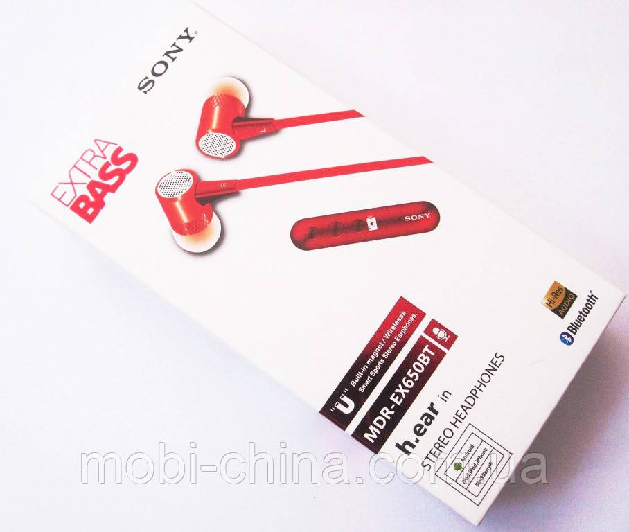 Навушники магнітні Sony MDR-EX650BT Bluetooth, red