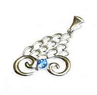 Кулон серебряный со вставкой из Синей Шпинели
