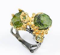 """Шикарный перстень """"Дуплет """" с зеленым сапфиром , размер 18,6 от студии LadyStyle.Biz"""