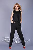 Летний женский комбинезон из качественной итальянской ткани чёрного цвета