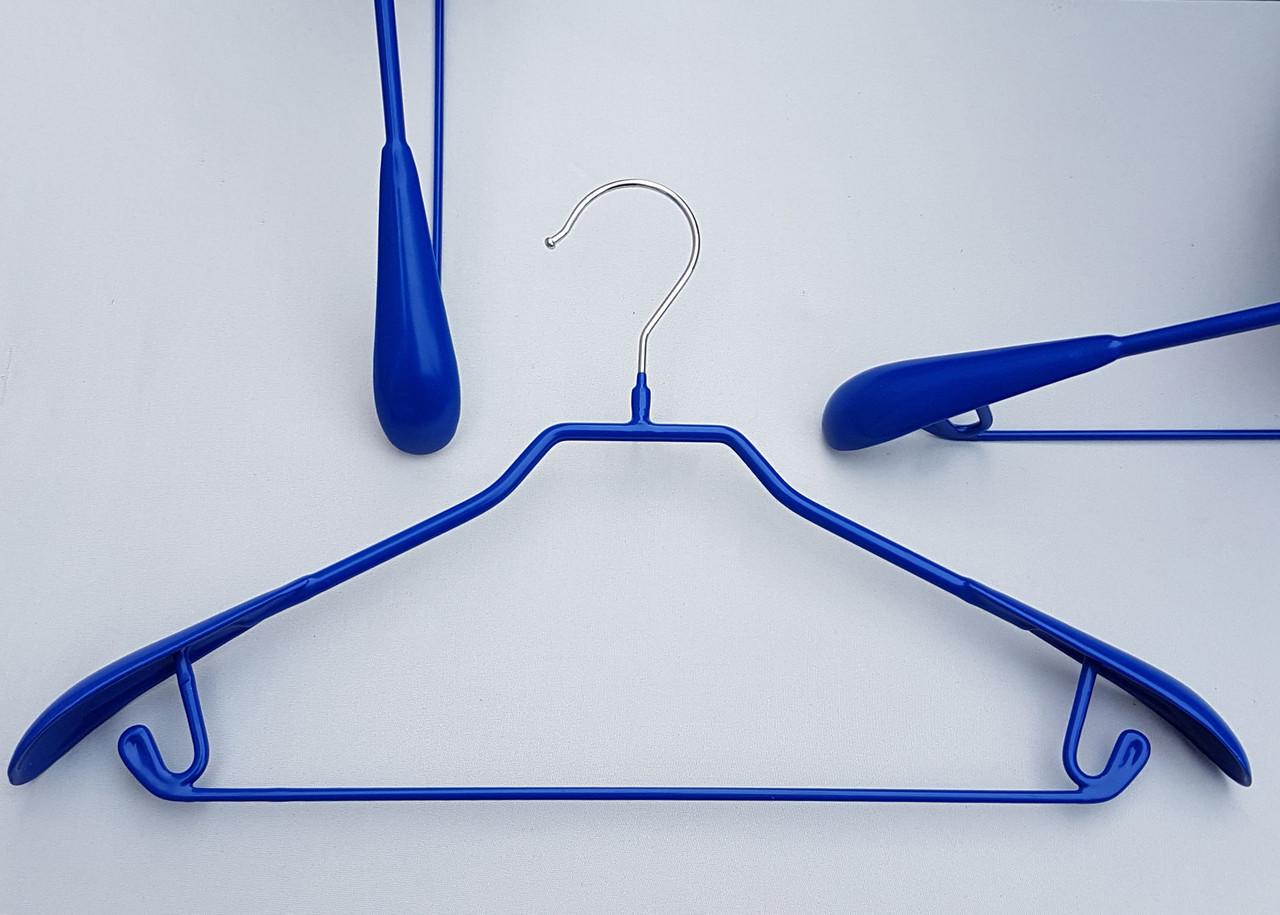 Плічка вішалки тремпеля металевий в силіконовому покритті широкий синього кольору, довжина 43 см