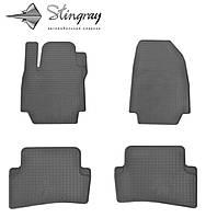 Резиновые коврики Stingray Стингрей Renault CLIO IV 2012- Комплект из 4-х ковриков Черный в салон. Доставка по всей Украине. Оплата при получении
