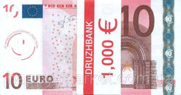 """Пачка денег (сувенир) 002 Евро """"10"""""""