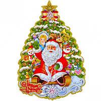 "Плакат с глиттером и флоком ""Дед Мороз и Снегурочка"" 35*24 см."