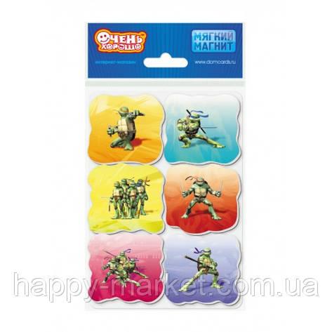 Магниты мягкие (набор 6 шт.) Черепашки-ниндзя ММ-016/004, фото 2