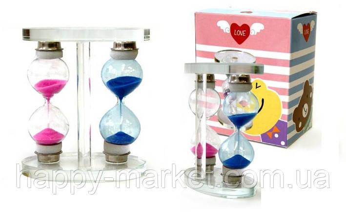 Часы песочные двойные стекло 9.5x7 см. 19-60