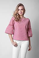 Модная женская блуза в мелкую клетку красного цвета