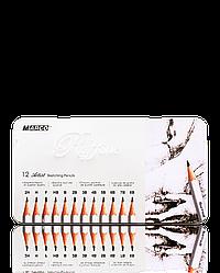 """Олівці графітні """"MARCO"""" Raffine в металевому пеналі (12 шт., від 2H - до 8В) 7000-12TN"""