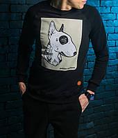 Мужской СВИТШОТ Bullterrier (Casual Animals, Черный) Black 🔥