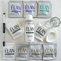Гель-краска для окрашивания бровей (черный / черный / темно-коричневый) в наборе ELAN