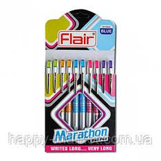 """Ручка шариковая Flair """"Marathon"""" синяя 10уп,100бл"""