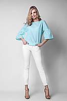 Модная женская блуза в мелкую клетку бирюзового цвета