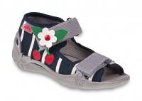 Детские польские текстильные тапочки-босоножки Befado р.20,21,24,25,26 для дома, улицы, в садик девочкам
