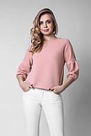 Эффектная женская блуза из структурного трикотажа персиковая