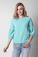 Эффектная женская блуза из структурного трикотажа бирюзовая