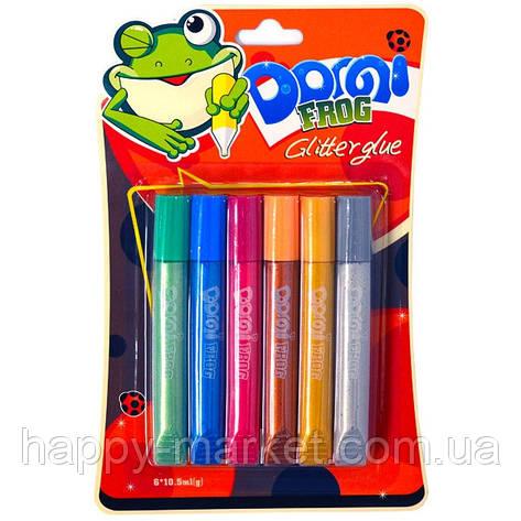 """Клей силиконовый с блестками на картоне """"Domi Frog"""" металлик (3D/6 цветов,10.5 мл.) GG-003, фото 2"""