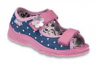 Детские польские текстильные тапочки-босоножки Befado MAX 969X093 р.27,29 для дома, улицы, в садик девочкам
