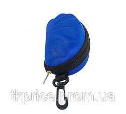 Футляр для  очков синий с карабином на молнии, фото 3