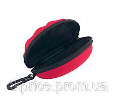 Футляр для  очков красный с карабином на молнии