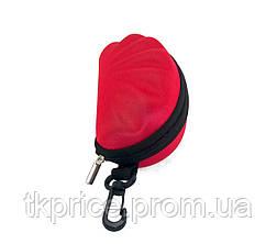 Футляр для  очков красный с карабином на молнии, фото 2