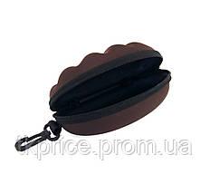 Футляр для  очков коричневый с карабином на молнии