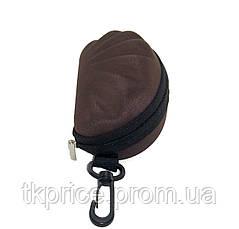 Футляр для  очков коричневый с карабином на молнии, фото 3