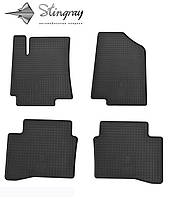 Резиновые коврики Stingray Стингрей Хундай акцент Солярис 2010- Комплект из 4-х ковриков Черный в салон. Доставка по всей Украине. Оплата при