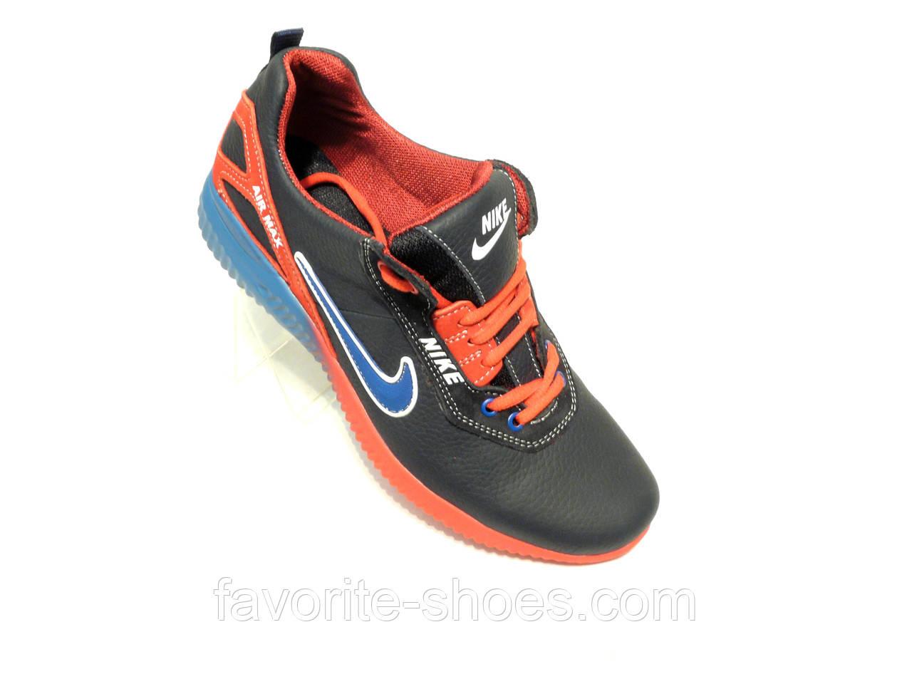 31a6fd5d49e6 Кожаные мужские кроссовки Nike синий - Интернет - магазин