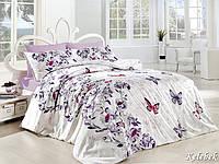 Двуспальный евро комплект постельного белья First Choice Kelebek, ранфорс, Турция