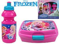 """Набор """"Frozen (Холодное сердце)"""". Контейнер для завтрака (ланч бокс) + бутылка, цвет розовый"""