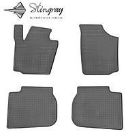 Резиновые коврики Stingray Стингрей Шкода Рапид 2013- Комплект из 4-х ковриков Черный в салон. Доставка по всей Украине. Оплата при получении