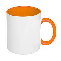 Чашка керамическая евроцилиндр цветная внутри, 310 мл, оранжевая, от 10 шт