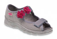 Детские польские текстильные тапочки-босоножки Befado MAX 969Y103 р.26-33 для дома, улицы, в садик девочкам