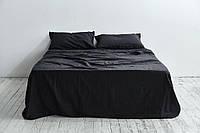Постельное белье из льна, Черный, евро