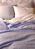 Постельное белье из льна, Васильковый, двуспальный