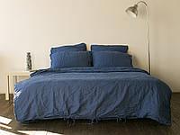 Постельное белье из льна, Синий, семейный