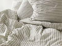 Постельное белье из льна в полоску, двуспальный