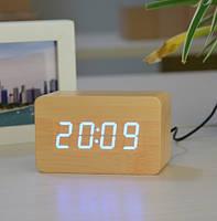 Настольные часы декоративные от сети и от батареек с белой подсветкой в виде дерев.бруска VST-863-6