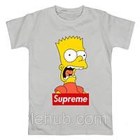 Футболка Supreme Bart Screams серая, унисекс (мужская,женская,детская)