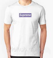 Футболка Supreme белая с фиолетовым логотипом,унисекс (мужская,женская,детская)