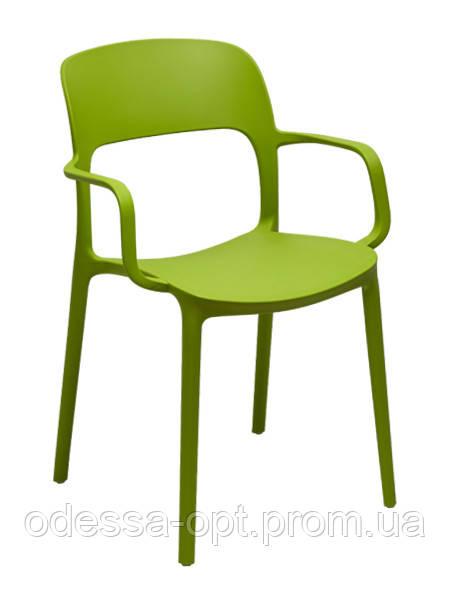 Стул пластиковый зеленый с подлокотниками