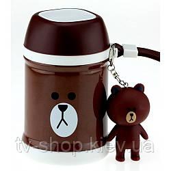Термос для їжі Ведмедик з брелком і ложкою,450мл