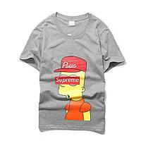 dcef84664e19f Футболка Supreme Bart Simpson серая, унисекс (мужская, женская, детская)