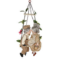 Набор фарфоровых кукол Дедушка с бабушкой на качелях,41 см