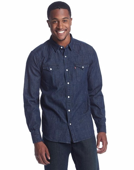 Джинсовая рубашка Levis Classic Western Shirt - Dark Wash Blue